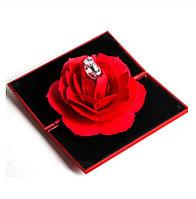 3D Роза, уникальная складная роза, ювелирная коробочка под кольцо, Красная, фото 1