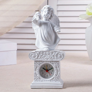 "Часы настольные ""Ангел с фонариком"", цвет белый, h=25 см"