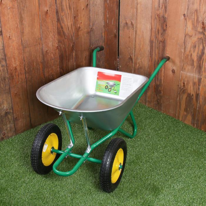 Тачка садово-строительная, двухколёсная: груз/п 180 кг, объём 90 л, пневмоколесо 360 мм, кузов 0,7 мм