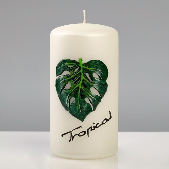"""Свеча """"Tropical Пеньковая"""", 7×13 см, белый жемчуг"""