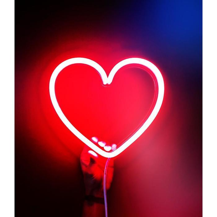 """Неоновая вывеска """"Сердце большое"""", 22.7 х 25.8 см"""