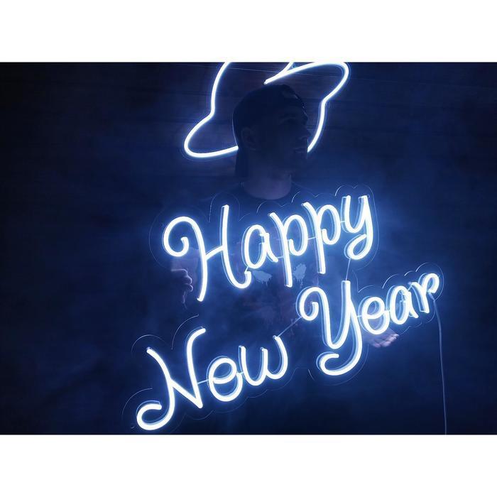 "Неоновая вывеска ""Happy new year"", 89.9 х 53.6 см"