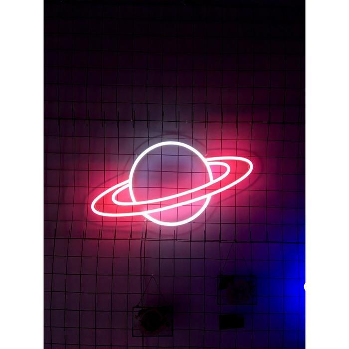 """Неоновая вывеска """"Сатурн"""", 60.9 х 32.3 см"""