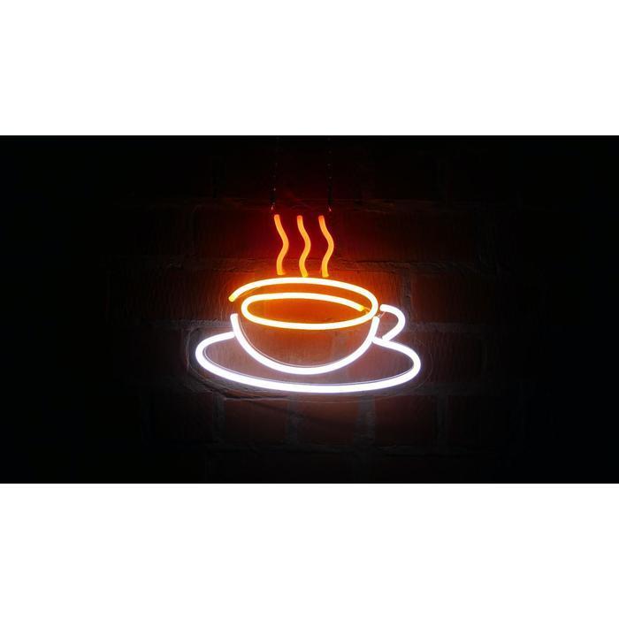 """Неоновая вывеска """"Чашка кофе"""", 42 х 33.3 см"""