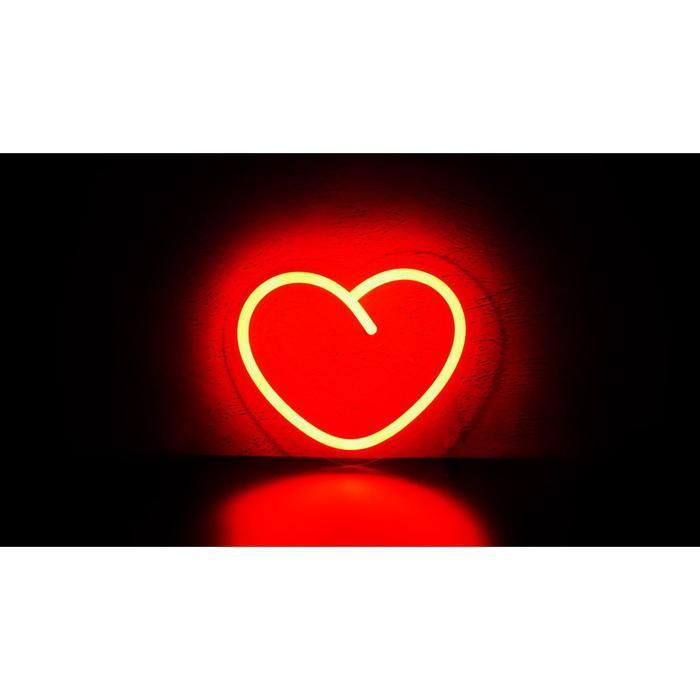"""Неоновая вывеска """"Сердце маленькое"""", 19 х 15.5 см"""