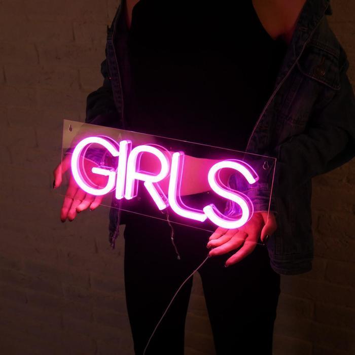 """Неоновая вывеска """"Girls"""", 41.5 х 14.8 см"""