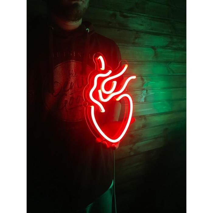 """Неоновая вывеска """"Анатомическое сердце"""", 30 х 20 см"""