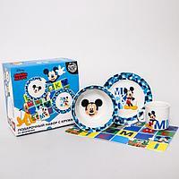 Набор посуды «Mickey», 4 предмета: тарелка Ø 16,5 см, миска Ø 14 см, кружка 200 мл, коврик в подарочной
