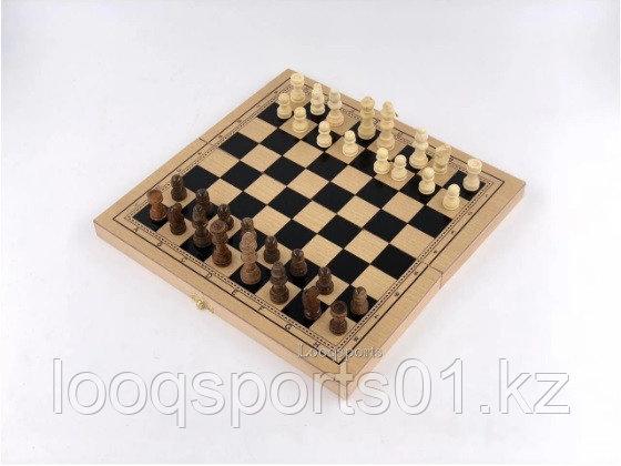 Шахматы, шашки, нарды деревянные 3в1 (29х29см)