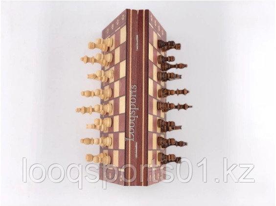 Шахматы магнитные деревянные (шашки, нарды) 3 в 1 (34х34см) - фото 3