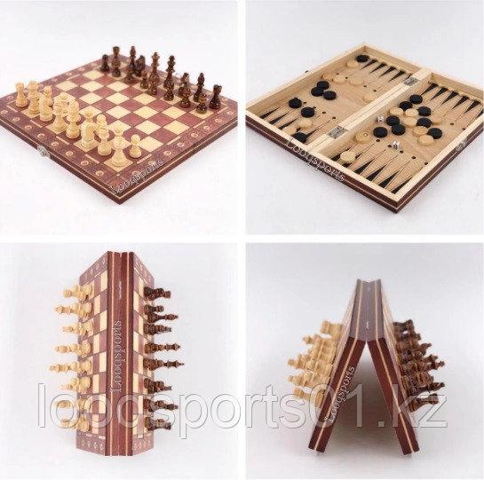 Шахматы магнитные деревянные (шашки, нарды) 3 в 1 (34х34см) - фото 1