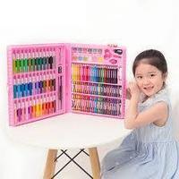 Художественный набор для рисования 150 предметов ( голубой, розовый)