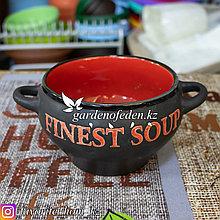Супник керамический, с ручками. Материал: Керамика. Цвет: Черный/Красный.