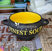 Супник керамический, с ручками. Материал: Керамика. Цвет: Черный/Желтый.