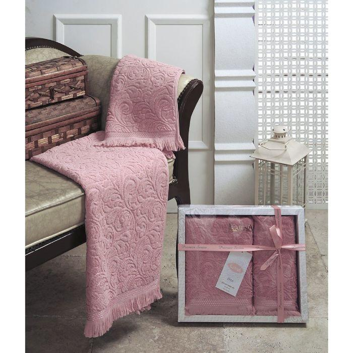 КМП «Esra», размер 50 × 90 - 1 шт., 70 × 140 - 1 шт., розовый