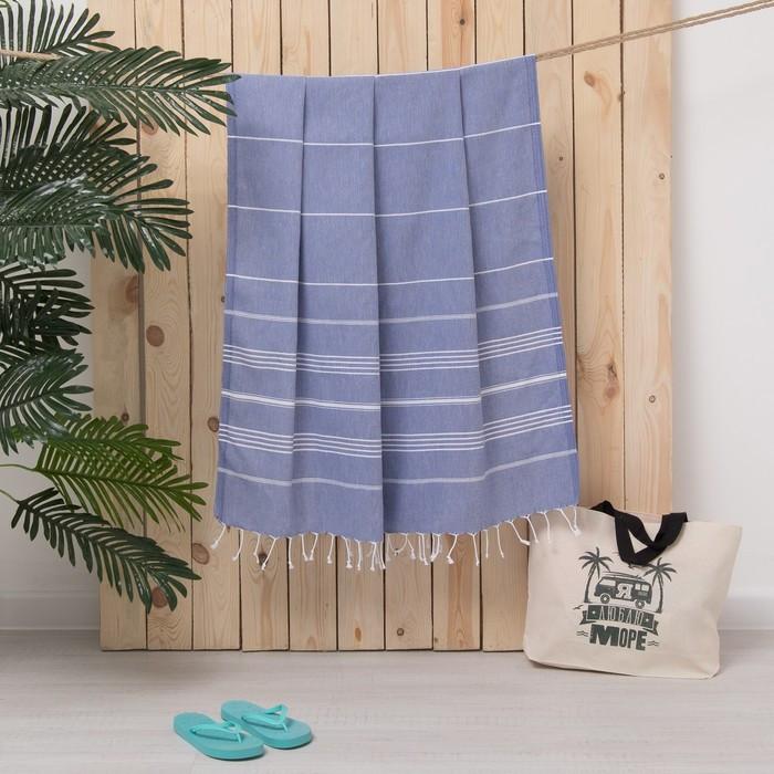 Полотенце пляжное пештемаль, 100х180 см, цв синий