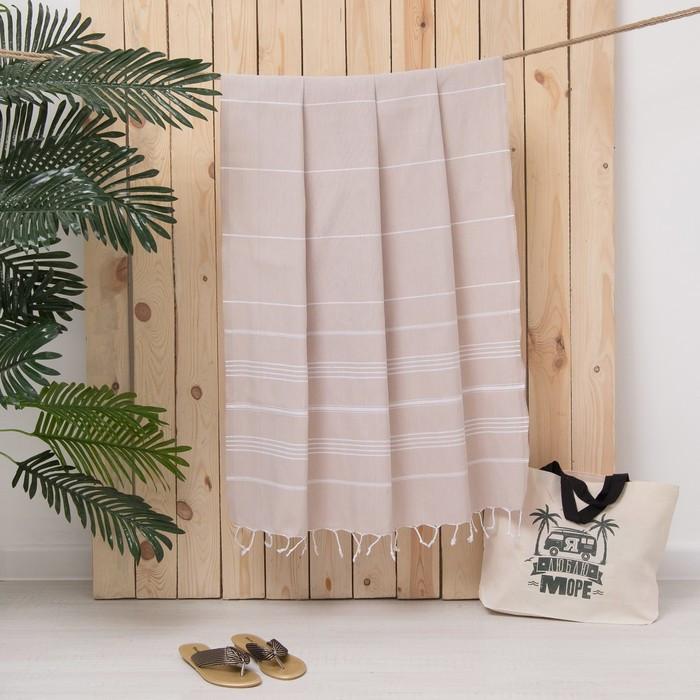 Полотенце пляжное пештемаль 100х180 см, цв бежевый, 280 г/м2,хлопок 100%