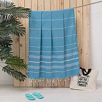 Полотенце пляжное пештемаль, 100х180 см, цв голубой