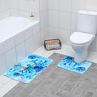Набор ковриков для ванны и туалета «Флори», 2 шт, 79×49, 49×40 см, цвет голубой