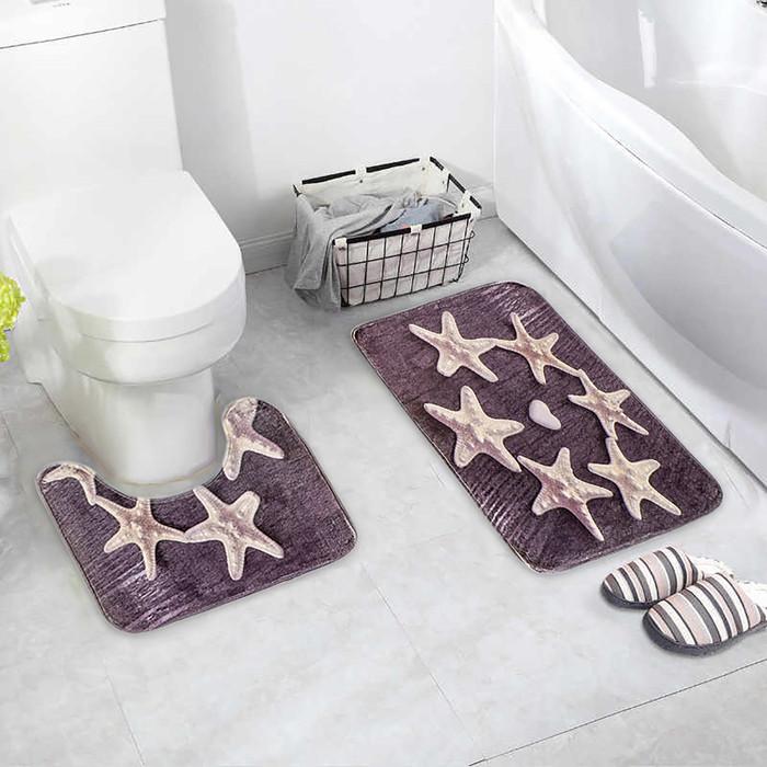 """Набор ковриков для ванны и туалета 2 шт 40х50, 50х80 см """"Звезды"""""""