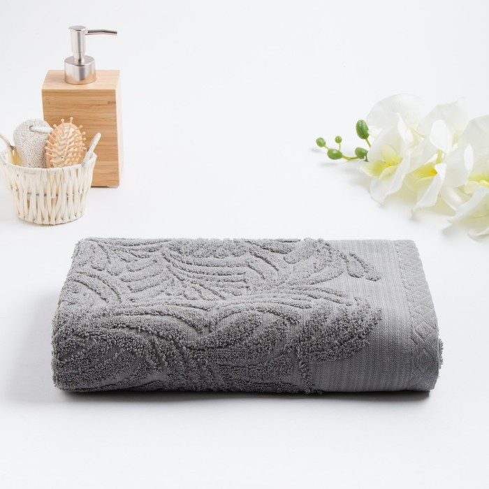 Полотенце махровое «MANO» 70х130 см, серый