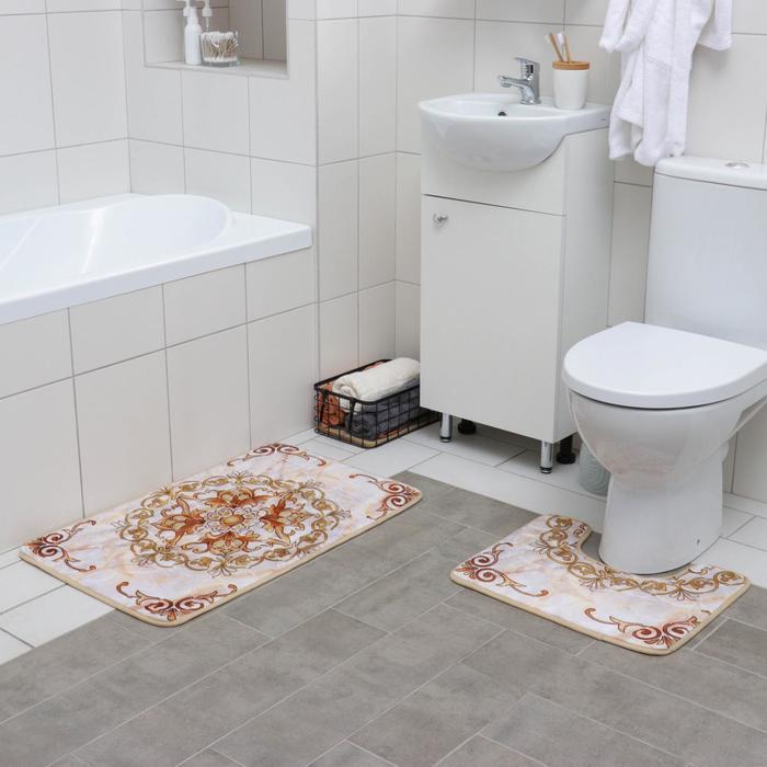 Набор ковриков для ванны и туалета «Орнамент», 2 шт: 50×80, 39×50 см, цвет бежево-коричневый