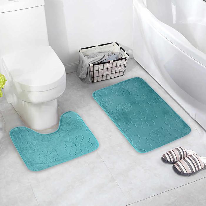 Набор ковриков для ванны и туалета «Поле», 2 шт: 39×50, 50×80 см, цвет зелёный