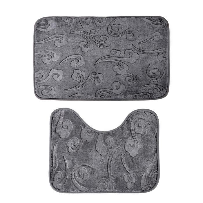 Набор ковриков для ванны и туалета «Грация», 2 шт: 40×50, 50×80 см, цвет серый