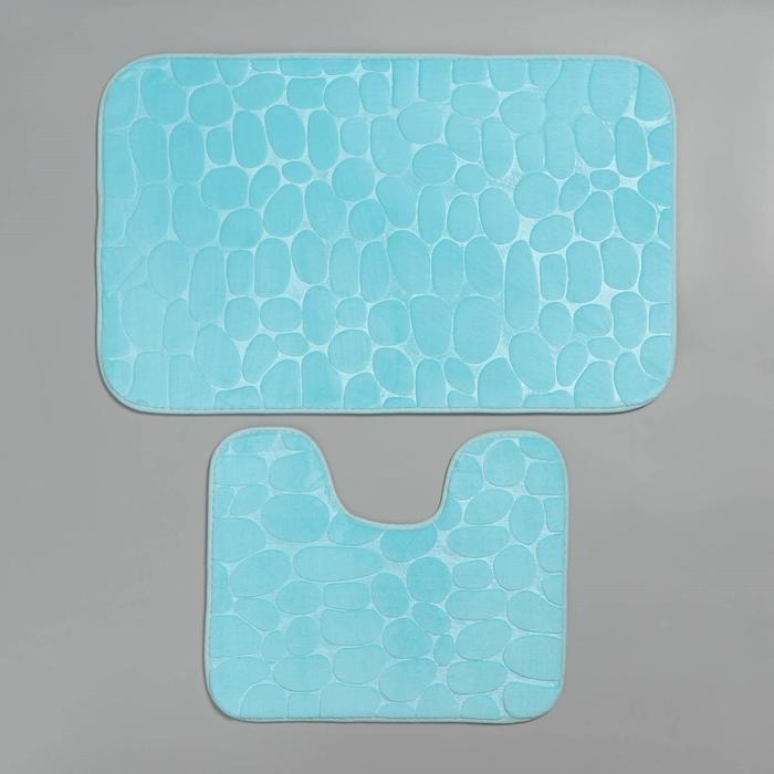 Набор ковриков для ванны и туалета «Галька, ракушки», 2 шт: 40×50, 50×80 см, цвет бирюзовый