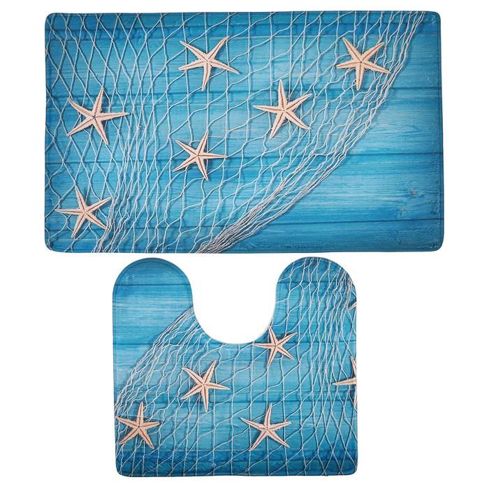 Набор ковриков для ванны и туалета «Морские звёзды», 2 шт: 40×45, 45×75 см