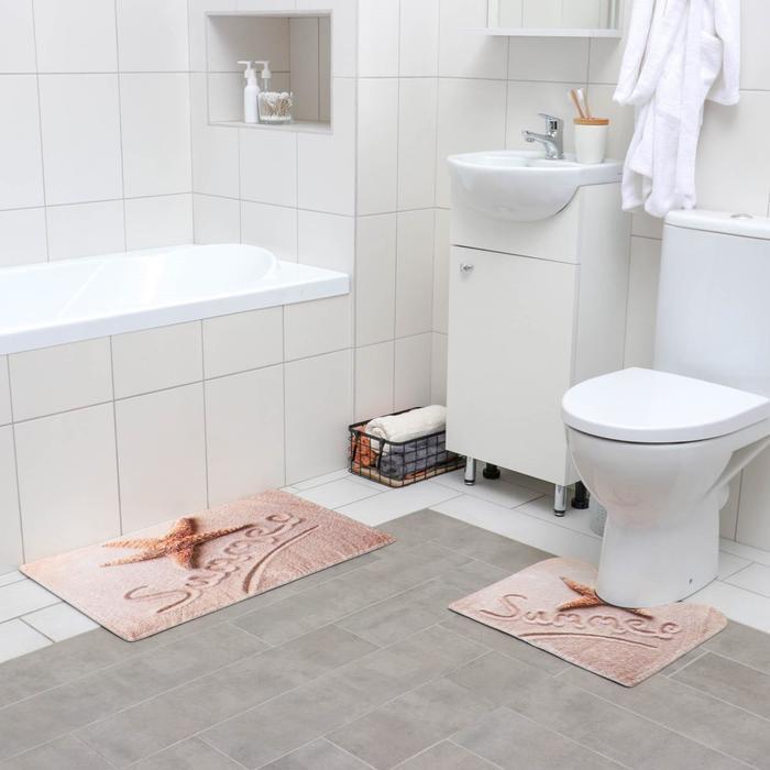 Набор ковриков для ванны и туалета «На пляже», 2 шт: 40×45, 45×75 см