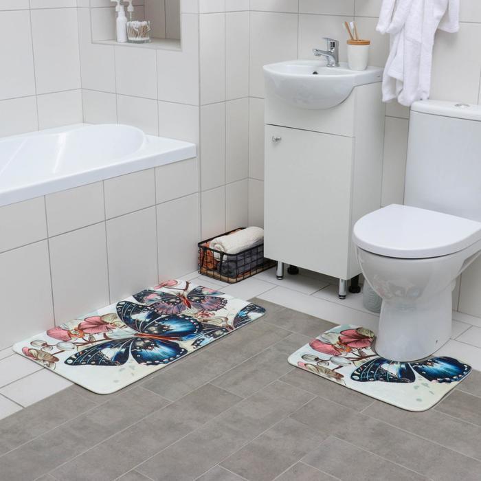 Набор ковриков для ванны и туалета «Бабочки», 2 шт: 50×80, 38×50 см