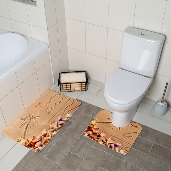 Набор ковриков для ванны и туалета «Пляж», 2 шт: 40×45, 45×75 см