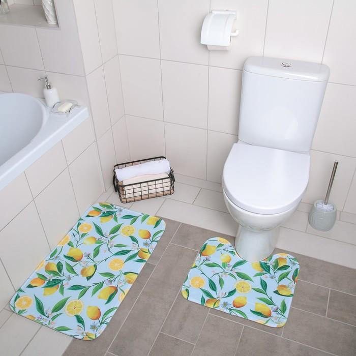 Набор ковриков для ванны и туалета «Лимоны», 2 шт: 40×45, 45×75 см
