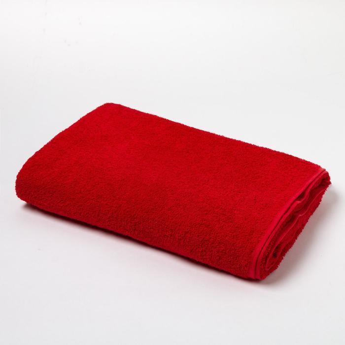 Полотенце махровое Экономь и Я 100х150 см, цв. красный, 100% хлопок