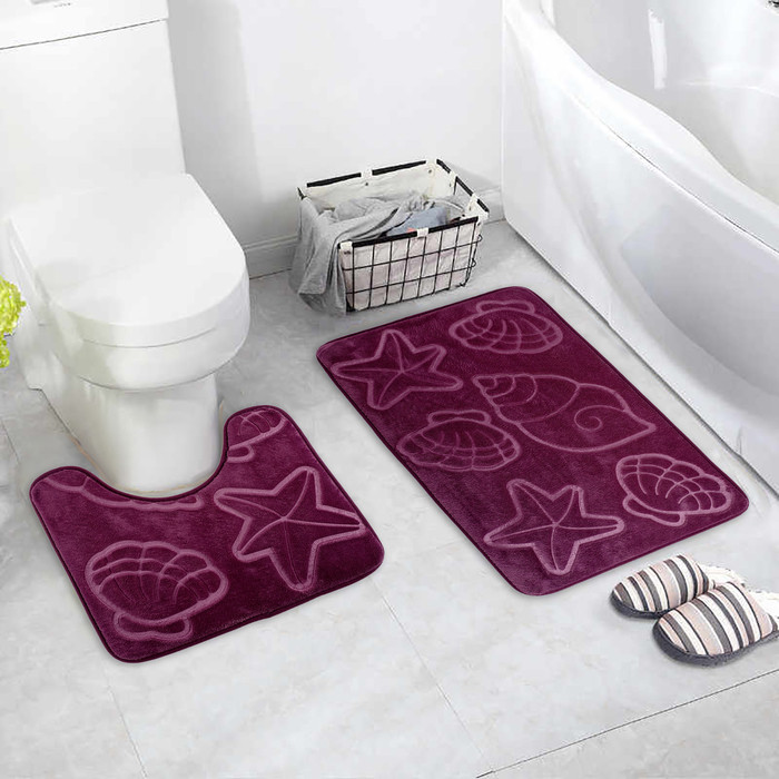 Набор ковриков для ванны и туалета «Ракушки», объёмные, 2 шт: 40×50, 50×80 см, цвет фиолетовый