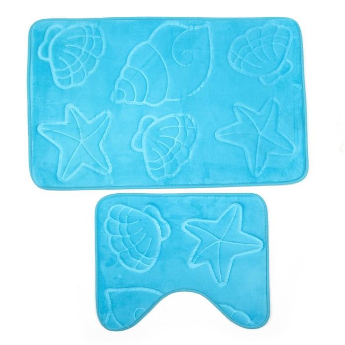 Набор ковриков для ванны и туалета «Ракушки», объёмные, 2 шт: 40×50, 50×80 см, цвет голубой