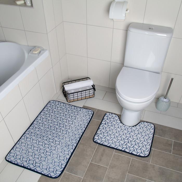Набор ковриков для ванны и туалета «Винель», 2 шт: 40×50, 50×80 см, цвет синий
