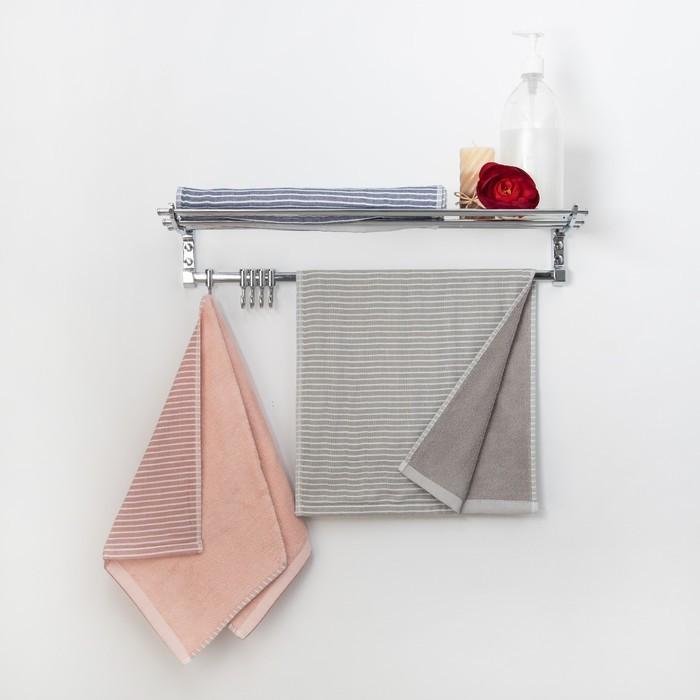 """Полотенце двухстороннее """"Этель"""" Амалия серый 70х140 см, 380 г/м2, 100% хлопок"""