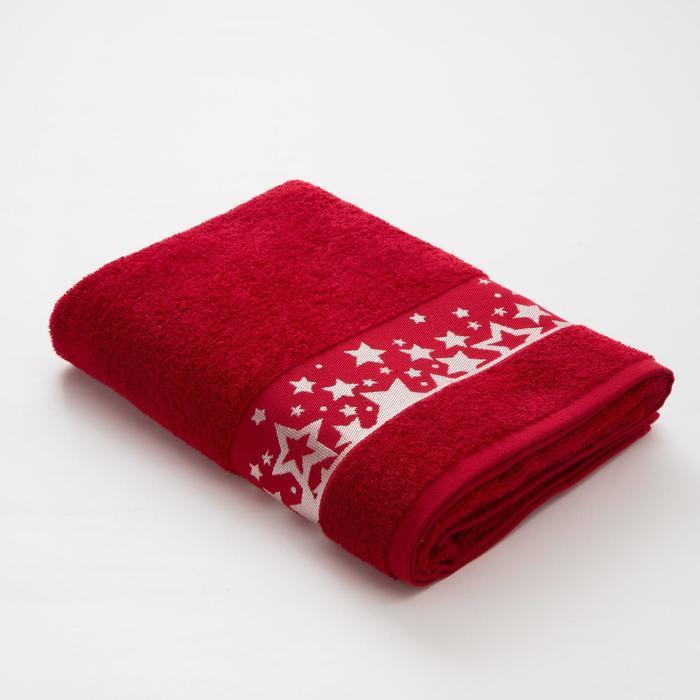 Полотенце махровое LoveLife «Звёзды», 70х130 см, цвет красный