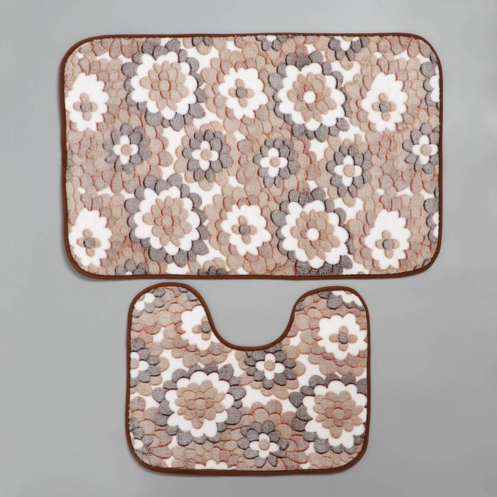 Набор ковриков для ванны и туалета «Бежевая фантазия», 2 шт: 40×50, 50×80 см