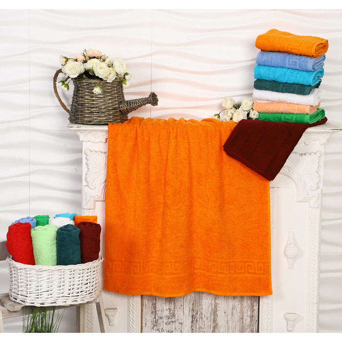 Полотенце махровое, 70х140 см, цвет мандарин