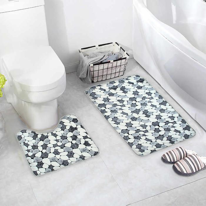Набор ковриков для ванны и туалета «Галька», 2 шт: 45×50, 50×80 см