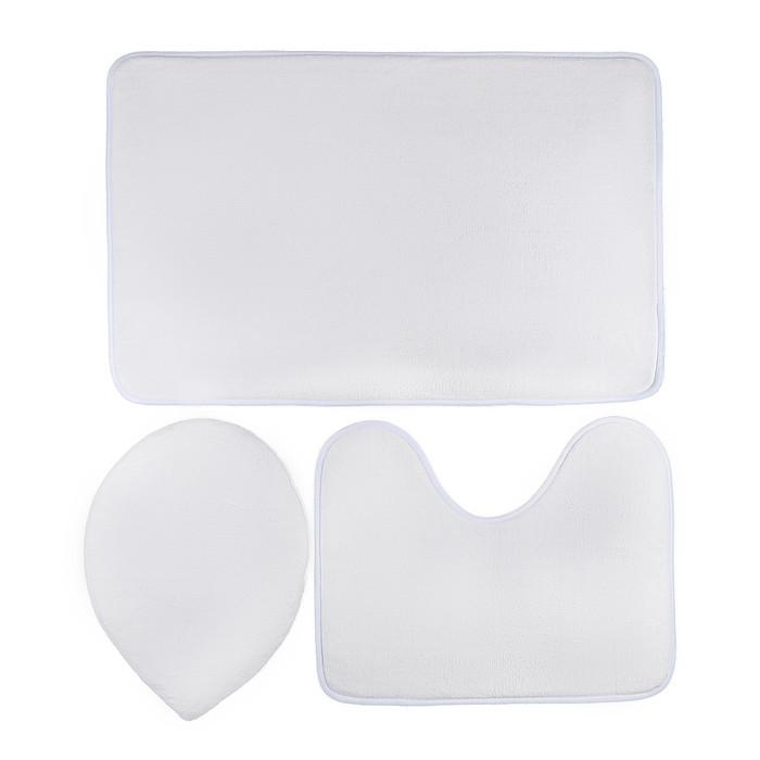 Набор ковриков для ванны и туалета «Комплект», 3 шт: 30×37, 38×50, 50×80 см, цвет белый