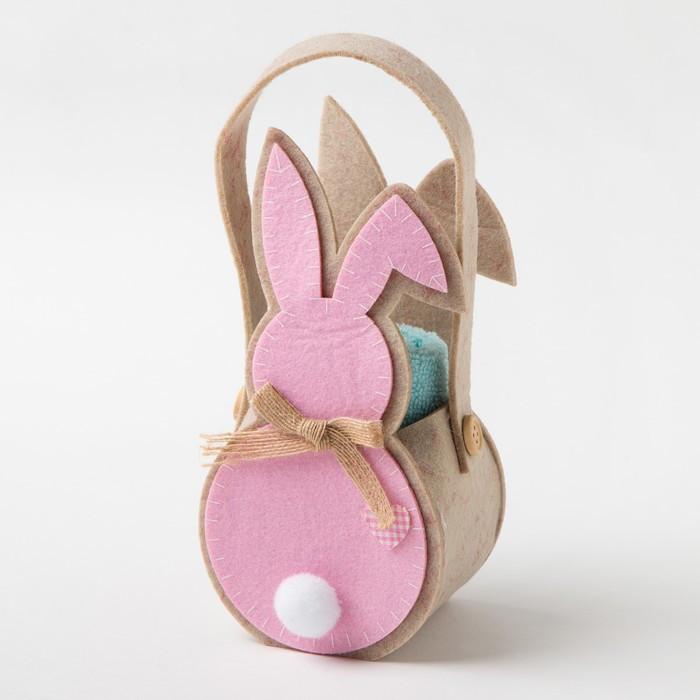 """Полотенце в корз. """"Розовый заяц"""" 30х30 см, 100% хлопок, 360 гр/м2"""