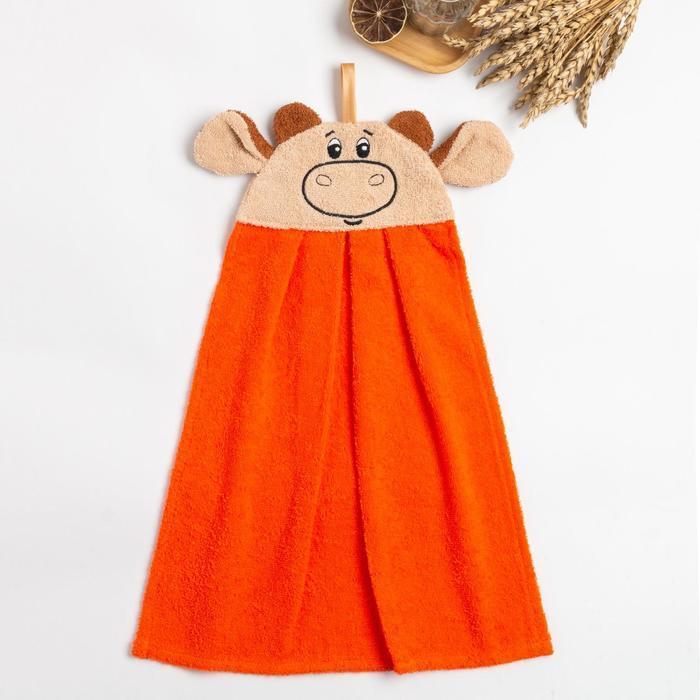 """Полотенце-рушник махровый """"Бычок"""" 43х35см, оранжевый, хл100%, 300 г/м"""