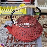 Чайник заварочный, с декором. Материал: Чугун. Цвет: Красный.