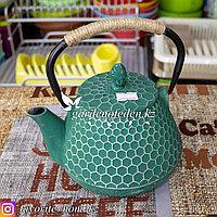Чайник заварочный, с декором. Материал: Чугун. Цвет: Зеленый.