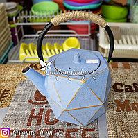 Чайник заварочный, с декором. Материал: Чугун. Цвет: Голубой.