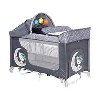 Кровать-манеж Lorelli MOONLIGHT 2 plus rocker с функцией качания Серый / Grey CUTE MOON 2070